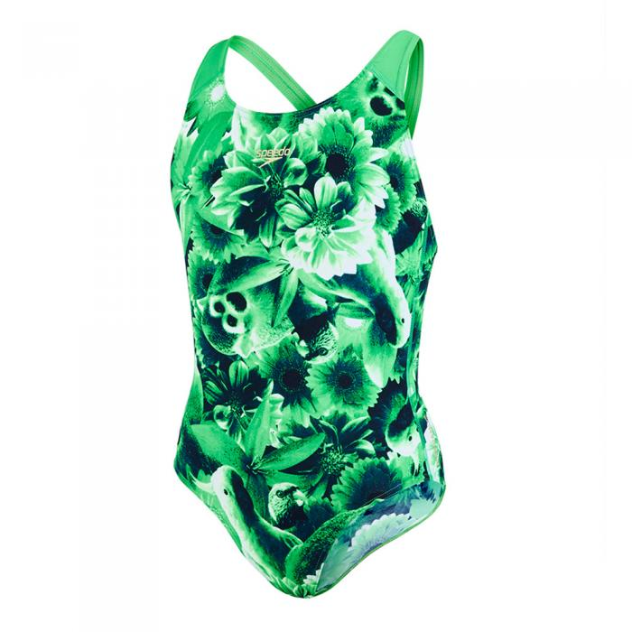 Costum de baie MOTIONKICK splash back Speedo pentru fete verde-big